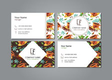 Vector visit card with pattern сup of coffee, coffee beans, sugar and flowers. On grey field Royalty Free Illustration