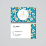 Vector visit card template blossoming cherry Royalty Free Stock Image