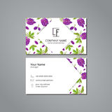 Vector visit card template with pattern  bunch of grapes with leaves Royalty Free Stock Photos