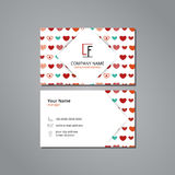 Vector visit card template with pattern colorful hearts Royalty Free Stock Photo