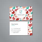 Vector visit card template with pattern colorful hearts on white field Stock Photo