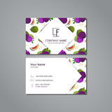 Vector visit card template with pattern  figs and leaves Stock Image