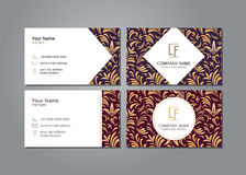 Vector visit card template with pattern gold lilies Royalty Free Stock Photos