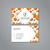 Vector visit card template with pattern grapefruit and flower Stock Images