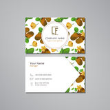 Vector visit card template with pattern  kiwi and flower Royalty Free Stock Image