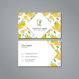 Vector visit card template with pattern lemons and flowers. On grey field with shadow royalty free illustration