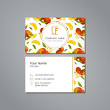 Vector visit card template with pattern  mango and flower Royalty Free Stock Image