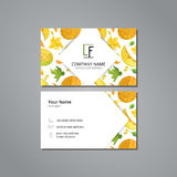 Vector visit card template with pattern melon and flowers in origami style Stock Photo