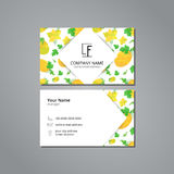 Vector visit card template with pattern orange melons and flowers in origami style Royalty Free Stock Photography