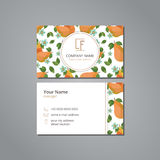 Vector visit card template with pattern pears and flowers Royalty Free Stock Photography
