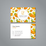 Vector visit card template with pattern persimmon and flower Stock Image