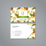 Vector visit card template with pattern pineapple and leaves Royalty Free Stock Images