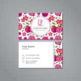 Vector visit card template with pattern pomegranate and flower Royalty Free Stock Photo