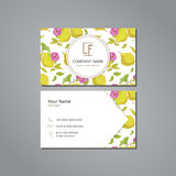 Vector visit card template with pattern quince and flower Royalty Free Stock Photos