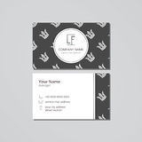 Vector visit card template with pattern white crown on a dark field Stock Image