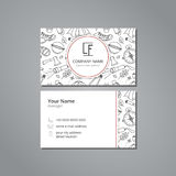Vector visit card template with pattern wild tourism Royalty Free Stock Photo