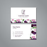 Vector visit card template plum blossom Stock Photos
