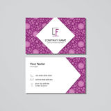 Vector visit card template roses on a lilac background. With leaves Royalty Free Stock Image