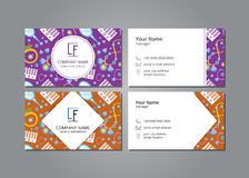 Vector visit card with women`s accessories set Royalty Free Stock Photos