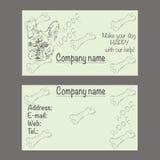 Vector Visitenkarte für Veterinärklinik oder Geschäft für Haustiere Lizenzfreie Stockfotos