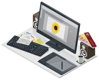 Vector visual artist workplace. Detailed isometric designer/illustrator workplace with computer and other peripherals Stock Photos