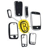 Vector abstract illustration bitcoin technology royalty free illustration