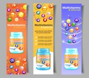 Vector vitamin and mineral complex banner set stock illustration