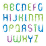 Vector vivid alphabet capital letters set, hand-drawn colorful s. Cript, bright drop caps drawn with paint brush, watercolor font royalty free illustration