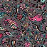Vector vivid flower pattern. Seamless botanic detailed illustrations. Hand-drawn, ethnic, retro, doodle, zentangle, tribal design Stock Images
