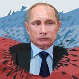Vector Vladimir Putin, presidente del ejemplo poligonal del retrato de Rusia en el fondo blanco ilustración del vector