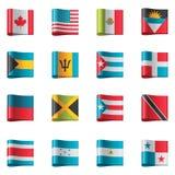 Vector vlaggen. Het noorden en Midden-Amerika Stock Foto
