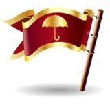 Vector vlagknoop met paraplupictogram Royalty-vrije Stock Afbeeldingen