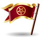 Vector vlagknoop met pentagrampictogram Royalty-vrije Stock Afbeelding