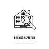 Vector vlak de lijnpictogram van de huisinspectie Het embleem van onroerende goederen Illustratie van de bouw onder glas Techniek Royalty-vrije Stock Foto