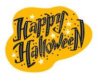 Vector vlak die Halloween-het van letters voorzien citaatontwerp met krabbelelementen op witte achtergrond worden geïsoleerd Stock Afbeelding