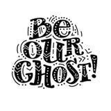 Vector vlak die Halloween-het van letters voorzien citaatontwerp met krabbelelementen op witte achtergrond worden geïsoleerd Stock Foto's