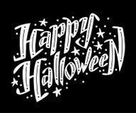 Vector vlak die Halloween-het van letters voorzien citaatontwerp met krabbelelementen op zwarte achtergrond worden geïsoleerd Royalty-vrije Stock Afbeeldingen