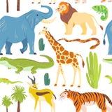 Vector vlak naadloos patroon met hand getrokken die woestijndieren, reptielen, palmen, cactus op witte achtergrond wordt geïsolee stock illustratie
