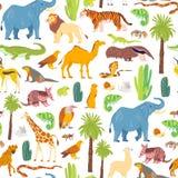 Vector vlak naadloos patroon met hand getrokken die woestijndieren, reptielen, palmen, cactus op witte achtergrond wordt ge?solee royalty-vrije illustratie