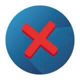 Vector Vlak Pictogram met Ongedwongenheid Rood Mark And Blue Button Stock Foto