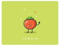 Vector vlak pictogram van tomaat, leuk plantaardig beeldverhaalkarakter, babymaaltijd royalty-vrije illustratie