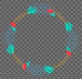 Vector vlakke botanische kroon Stock Afbeelding
