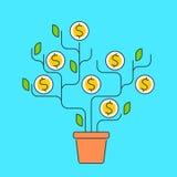 Vector vlakke de lijnillustratie van de geldboom Stock Fotografie