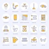 Vector vlakke de lijnpictogrammen van de loodgieterswerkdienst Het materiaal van de huisbadkamers, tapkraan, toilet, pijpleiding, vector illustratie