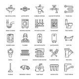 Vector vlakke de lijnpictogrammen van de loodgieterswerkdienst Het materiaal van de huisbadkamers, tapkraan, toilet, pijpleiding, royalty-vrije illustratie