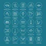 Vector vlakke de lijnpictogrammen van de loodgieterswerkdienst Het materiaal van de huisbadkamers, tapkraan, toilet, pijpleiding, stock illustratie