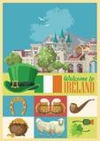 Vector vlakke de stijlillustratie van Ierland met oriëntatiepunten, Iers kasteel, groene gebieden royalty-vrije illustratie