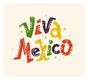 Vector vlakke hand getrokken illustratie met het vlakke Viva Mexico-van letters voorzien geïsoleerd op witte achtergrond Stock Fotografie