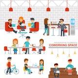 Vector vlakke het ontwerpillustratie van Coworkings ruimte infographic elementen Stock Afbeelding
