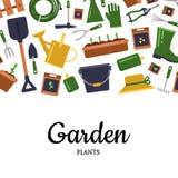 Vector vlakke het tuinieren pictogrammenachtergrond met plaats voor tekstillustratie stock illustratie